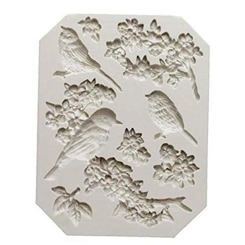 Onsinic Fondant Moldes Animal Bird Flor del Ciruelo del Molde De Pastel De Silicona Molde De La Torta De Chocolate para Hornear Herramientas Moldea DIY