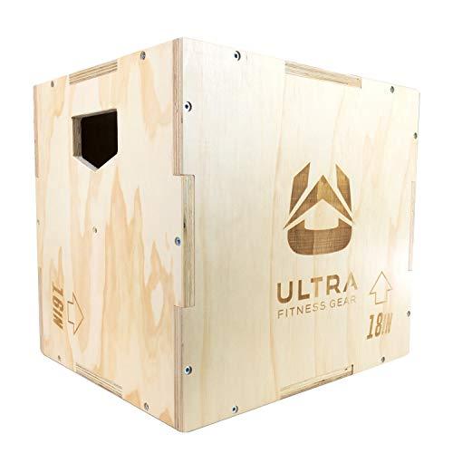 Ultra Fitness Wood Plyo Box - 3-in-1 Wood Plyo Box for Jump, MMA Training, Plyometrics (Medium Size: 20' x 18' x 16')
