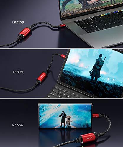 JSAUX USB C zu Ethernet Adapter 20CM USB Typ C zu RJ45 Gigabit LAN Adapterkabel, Thunderbolt 3 Netzwerkadapter für MacBook Pro, MacBook Air, Dell XPS 13, Google ChromeBook Pixel,Surface Book 2 -Rot
