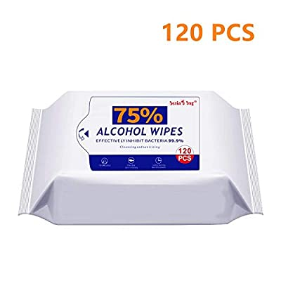75% Alcohol Wipes, (1 Pack 120 Wipes) Portable Wet Wipes for All-Purpose Cleaning … from MEI