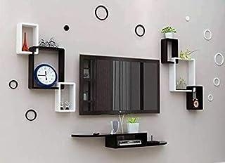 DECORVAIZ TV Entertainment Unit Set Top Box Wall Stand Home Decor Wall Shelf Wooden Racks Wall Decor Black & White 1 Set T...