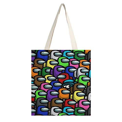A-mong Us Borsa di Tela Delle Donne Spalla Messenger Bag Studente Classe Grande Capacità Sacchetto di Panno Letterario Semplice Tote Bag, Multicolore