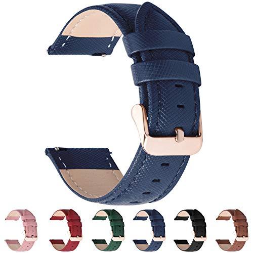 Fullmosa Cinturino per Orologio, Cross Cinturini in Pelle 16mm, Cinturino Orologio per Moto 360 2nd Gen Women's 42mm / Timex/Timex Weekender 16mm / Bulova 16mm, 16mm Blu Scuro