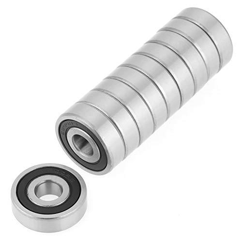 Confezione da 10 cuscinetti a sfera 6200-2RS, 10 x 30 x 9 mm, in acciaio, per attrezzatura meccanica