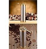 DKee Molinillo de mano de acero inoxidable portátil con núcleo de cerámica para granos de café, molinillo manual de café de 55 x 190 mm (color: oro)