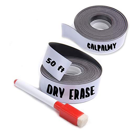 (2-Pack) 1 Inch x 25 Feet Magnetic Dry Erase Strips - Magnetic Labels Roll Perfect Alternative for Messy Sticker Labels - Write and Erase Whiteboard Magnetic Tape Roll Made from Strong Magnet Sheet
