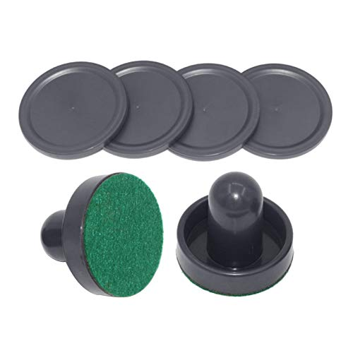 MAXBELL 2PCS PVC Air Hockey Pushers and 4PCS Pucks Replacement for Game Tables Black