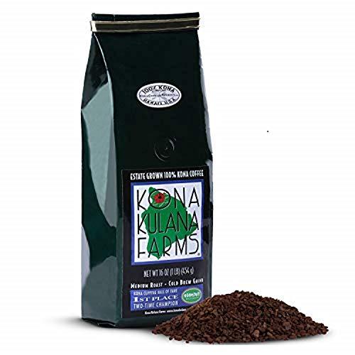 Kona Kulana Farms Ground Coffee Medium Roast-Keto Friendly, Coarse Ground Coffee, Great for Cold Brew and French Press - 100% Kona Coffee Single Origin - 16 ounce