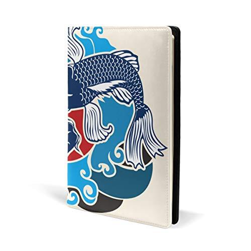 Fundas de piel para libros de tatuajes de peces japoneses, para la escuela, oficina, cuaderno de texto, tapa dura, A5, 5.8 x 8.7 pulgadas, para niñas y niños
