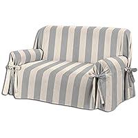 HomeLife – Cubre sillón – Elegante Protector de sofás a Rayas – Funda de sofá de algodón para Proteger del Polvo, Las Manchas y el Desgaste, Fabricado en Italia – Gris