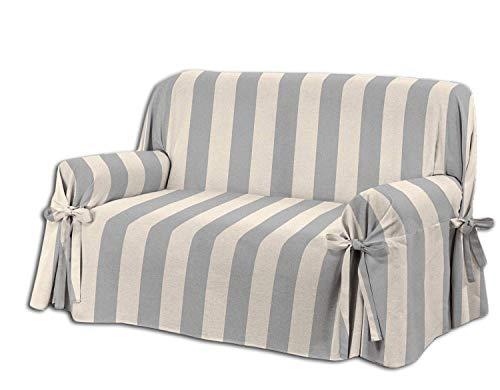 Home Life – Cubre sofá de 3 plazas – Elegante Protector de sofás a Rayas – Funda de sofá de algodón para Proteger del Polvo, Las Manchas y el Desgaste, Fabricado en Italia – Gris