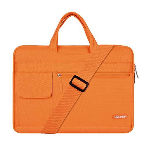 MOSISO Funda Protectora Compatible con 13-13.3 Pulgadas MacBook Pro/MacBook Air/Ordenador Portátil, Bolsa de Hombro Blanda Maletín Bandolera de Estilo Flap, Naranja