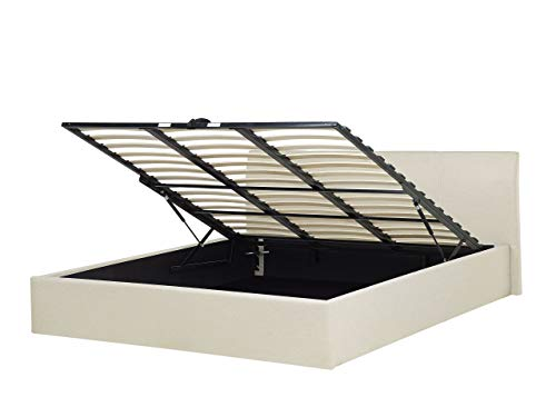Modernes Polsterbett Leinenoptik beige 180x200 cm mit hochklappbarem Bettkasten Bettgestell Orbey