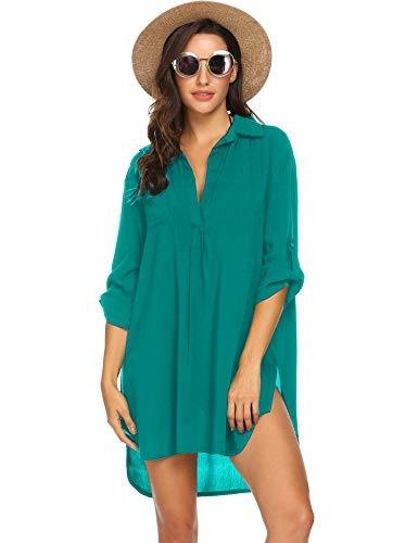 Ekouaer Women's Swimsuit Beach Cover Up Shirt Bikini Beachwear Bathing Suit Beach Dress (XX-Large, Dark Cyan)