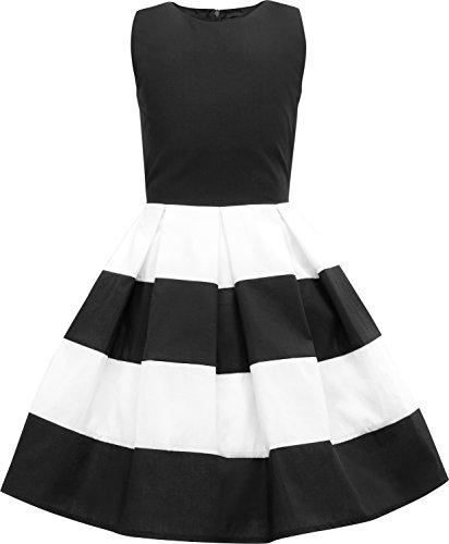 BlackButterfly Kids 'Lilly' Vintage Striped 50's Children's Girls Dress (Black, 13-14 YRS)