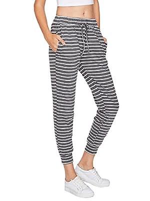 SweatyRocks Women's Striped Sweatpants Drawstring Waist Long Workout Yoga Active Pants Grey (Medium, Grey White-3)