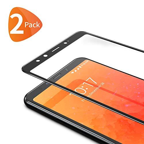 Bewahly Cristal Templado para Xiaomi Mi A2 [2 Piezas], Ultra Fino Completa Cobertura Protector Pantalla, 9H Dureza Alta Definicion Vidrio Templado Sin Burbujas para Xiaomi Mi A2 (Negro)