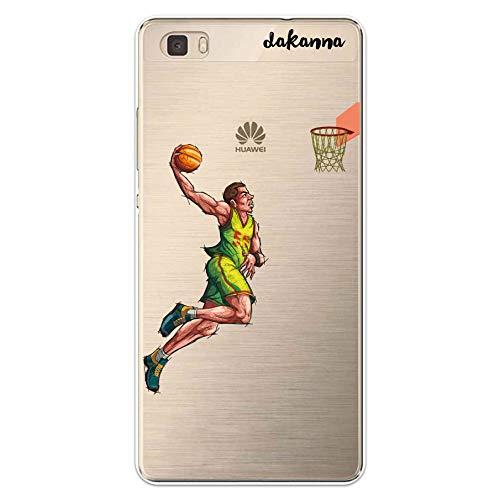 dakanna Funda para Huawei P8 Lite | Jugador de Baloncesto | Carcasa de Gel Silicona Flexible | Fondo Transparente