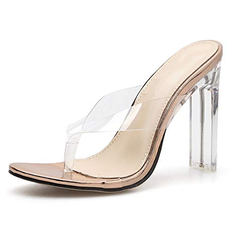 Comfortabel en veelzijdig temperament Stiletto Slipper For Women Transparent Slipper Lucite Pumps PVC Thong Flip Flops Backless Klompen hjm nvxie jfidmra (Color : Champagne+gold, Size : 40 EU)