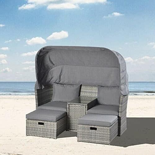 BJYX gartenlounge Lounge Rattan Sonnenliege Sonneninsel Gartenliege Strandkörbe