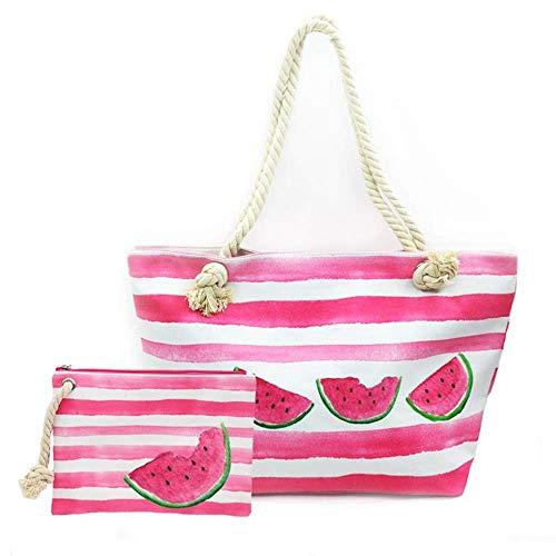 FARI Große Strandtasche Damen, Reisetaschen Canvas Schultertasche Shopper mit Reißverschluss (Wassermelone)