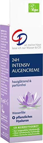 CD 24h Intensiv Augencreme (hautglättend & parfümfrei) mit Wasserlilie und Hyaluron / 2er Pack (2 x 15 ml)