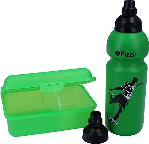 Fizzii Set Trinkflasche 600ml + Lunchbox inkl. Obst-/ Gemüsefach (schadstofffrei, spülmaschinenfest, Motiv: Kicker)