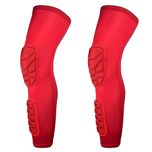 MUMUWU Lange Basketball Knee Pads Running Been Sleeve Kalf Kniebrace Support beschermer Ski/Snowboard Sport Kneepad Football Shin Guard (Color : Red, Size : L)