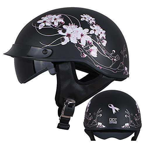 Medio Casco de Motocicleta con Visera Hebilla de Liberación Rápida Ajustable Retro Aprobados Dot/ECE Casco de Motocicleta de Media Carcasa para Scooter Negro para Unisex (52~62cm)