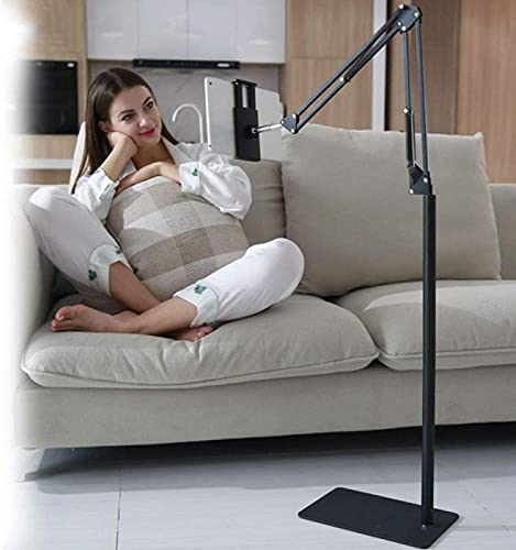 GWDFSU Soporte de pared de aleación de aluminio, altura ajustable de 135 a 175 cm, soporte de tableta negro de 10 pulgadas para tabletas y portátiles de fotografía