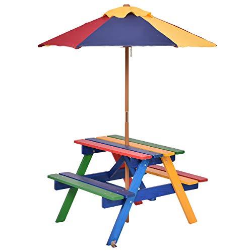 Costzon Kids Picnic Table Set Children Junior Rainbow Bench w/Umbrella