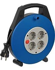 Brennenstuhl Vario Line Kabelbox 4-voudig/mini-kabelhaspel (indoor kabelhaspel voor huishouden, 10 m kabel, Made in Germany) zwart/grijs/blauw