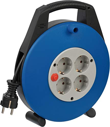 Brennenstuhl Vario Line Kabelbox 4-fach / Mini-Kabeltrommel (Indoor-Kabeltrommel für Haushalt, 10 m Kabel, MADE IN GERMANY) schwarz/grau/blau