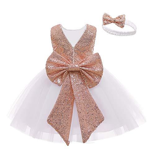 LZH Baby Girls Dress Sequin Bowknot Tutu Flower Fiesta de cumpleaños Vestido de Novia Vestidos para niños con Sombreros