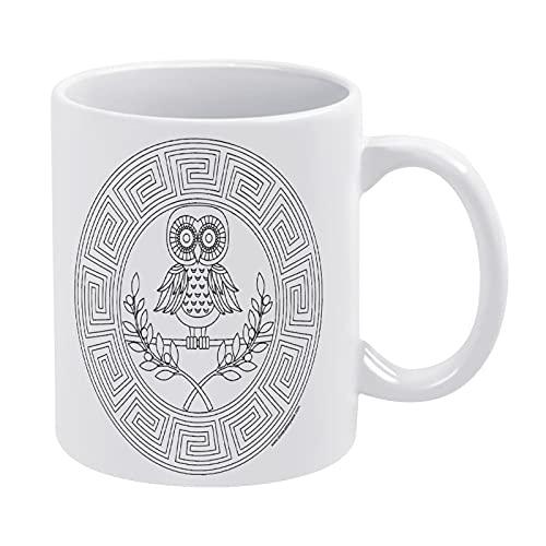 Taza de cerámica con diseño de búho de la antigua Grecia, diseño de libro para colorear en casa y oficina