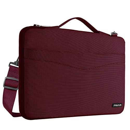 MOSISO Bolsa de Hombro Compatible con 13-13.3 Pulgadas MacBook Air/MacBook Pro Retina/2019 2018 Surface Laptop 3/Surface Book 2, 360 Funda Protectora Maletín de a Prueba de Golpes Bandolera, Vino Rojo