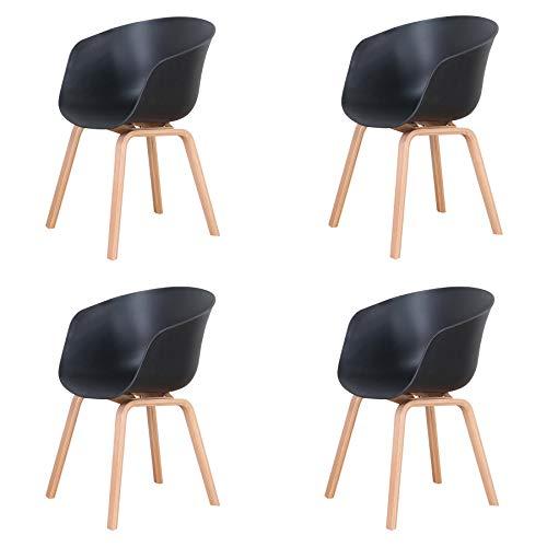 Uderkiny Set di 4 sedie in Stile Nordico, Sedia da Pranzo in Stile Medievale con braccioli e Gambe in Metallo, Adatta per Soggiorno, Cucina e Ufficio, Dimensioni: 78 * 55 * 48 cm (Nero-4)