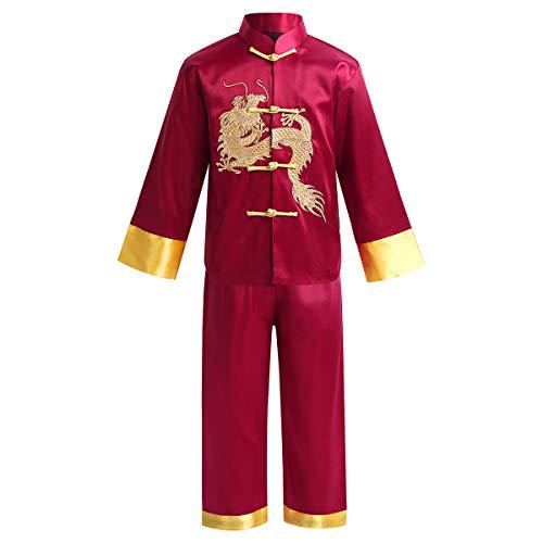 Agoky Junge Tang Anzug - Chinesische Traditionelle Kostüm Kampfkunst Kung Fu Uniform Drache Stickerei Anzüge Langarm Tops mit Hosen Dunkelrot 128-140/8-10 Jahre