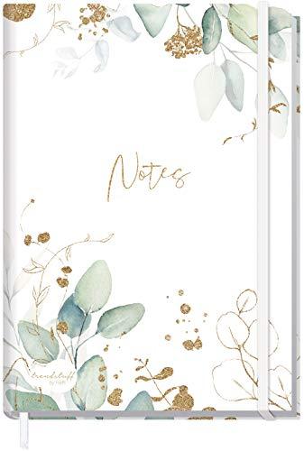Notizbuch A5+ kariert mit Gummiband [Blattgold] von Trendstuff by Häfft | 156 Seiten, 78 Blatt | als Bullet Journal, Tagebuch, Notizheft | nachhaltig & klimaneutral