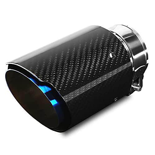 Puntas de Escape Silenciador Acero Inoxidable y fibra de Carbono Brillante Tubo del Extremo de Escape del Automóvil, Entrada 63 mm (2.5 ') Salida 89 mm (3.5')