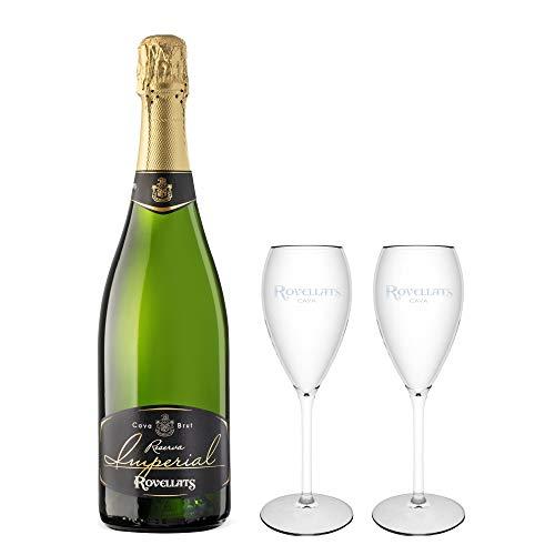 vins&co barcelona Pack De Enamorados - 1 Botella De Cava Rovellats Reserva Imperial Brut + 2 Copas - D.O. Cava - Xarel·Lo, Macabeo Y Parellada - Crianza Mínima: 24 Meses - 750 ml