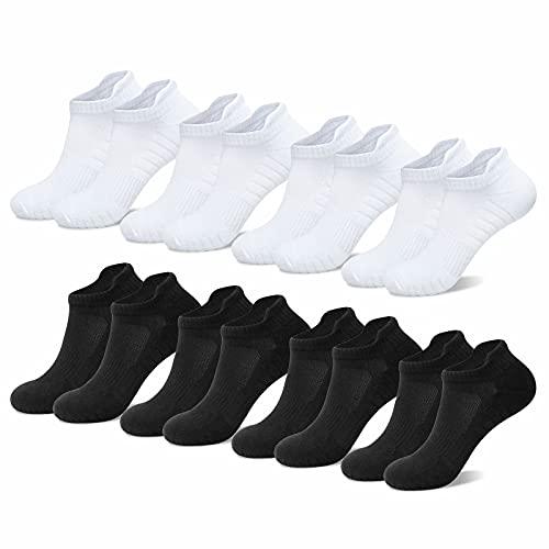 NUOZA Calcetines Hombre Mujer Algodon Deporte Cortos Tobilleros Pack De 8--Negro+Blanco,35-38