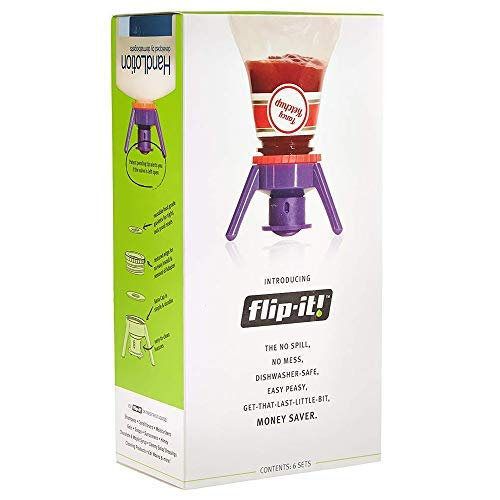 Flip-It! Bottle Emptying Kit - Get Every Last Drop Out of Honey, Condiments & Beauty Products BPA Free (Super Deluxe 6 Pack, Bright Colors)