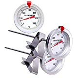 Oil Thermometer for Deep Frying,INRIGOROUS 2pcs 200mm Stainless Steel Deep Frying Thermometer with Metal Retaining Clip for Cooking Oil Deep Frying Fry BBQ Grill