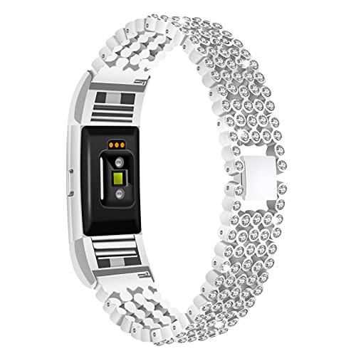 GhrKwiew Charge 2 Correa Bling, Jewelry Bling Diamante Acero Inoxidable Reloj Pulsera Correa de liberación rápida con Diamantes de imitación Reemplazo para Fitbit Charge 2 (Plata)