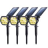 Nekteck Solar Lights, 10 LED Solar Spot Lights Outdoor, Waterproof 2-in-1 Solar Spotlights Outdoor, Wireless Solar Powered Landscape Lighting, Auto On/Off for Yard, Garden, Pool (4 Pack, Warm White)
