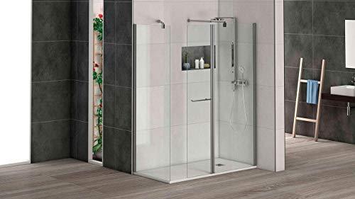 Mampara de ducha puerta abatible para acoplar a panel fijo con cristal transparente templado de seguridad de 6mm modelo Bricodomo Cadiz ANCHO 25