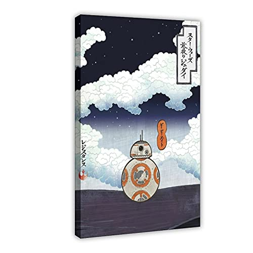 BB-8 Leinwand-Poster, Wandkunst, Dekor, Bild, Gemälde für Wohnzimmer, Schlafzimmer, Dekoration, Rahmen, 60 x 90 cm