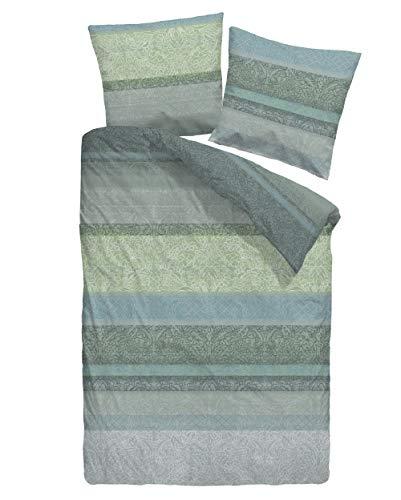 Dormisette Biber-Bettwäsche Streifen Ornament 7626 135 cm x 200 cm grün-Silbergrau