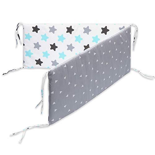AKlamater Protector de cuna transpirable para protección de cama, algodón, diseño envolvente, estrechamente conectado con la corbata de cuna (azul)
